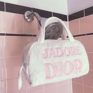 J'ADORE DIOR White & Pink Terry Cloth Towel Bag